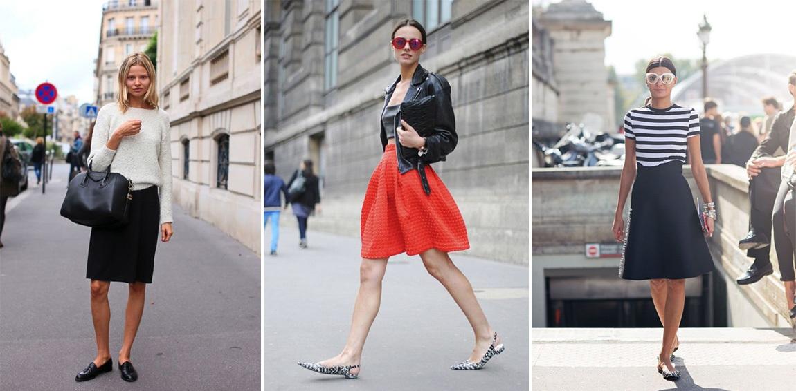 Обувь без каблука с юбкой фото