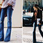 Как носить расклешенные джинсы?