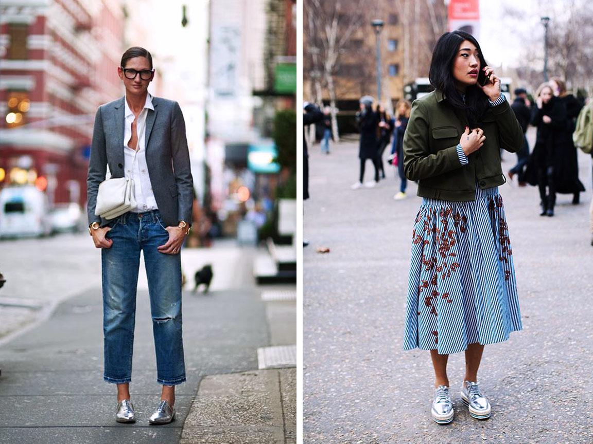 серебряные кроссовки с чем носить фото