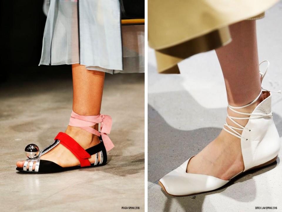 обувь тренды весна 2016 балетки с завязками 1
