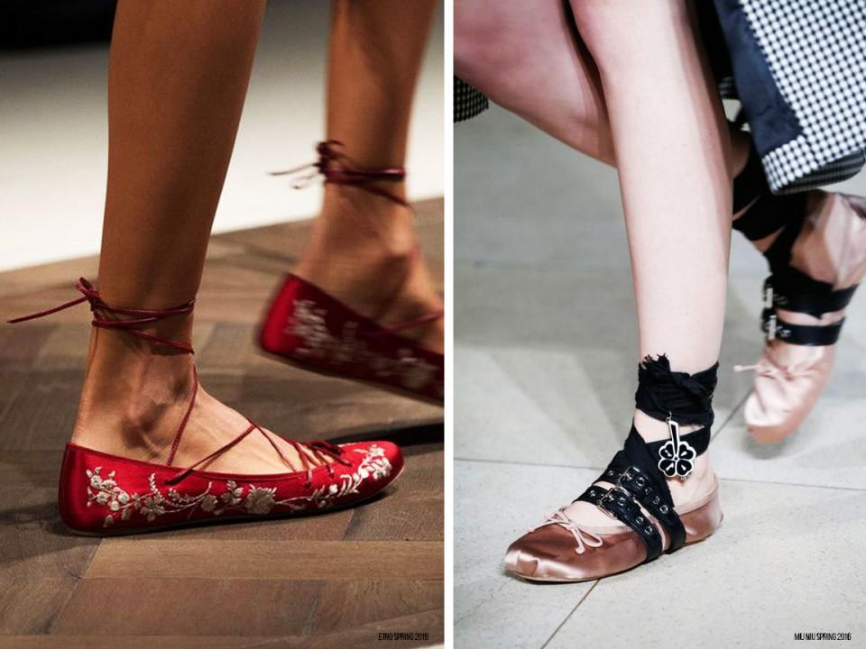 обувь тренды весна 2016 балетки с завязками
