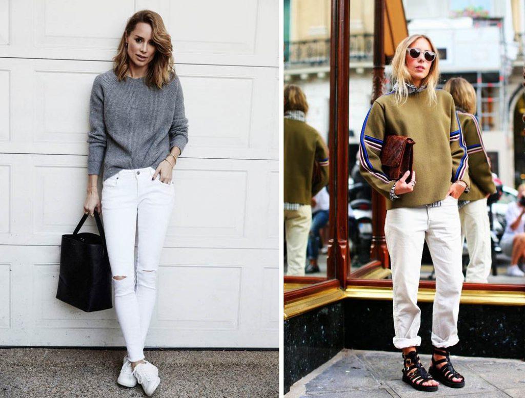 как носить белые джинсы 3