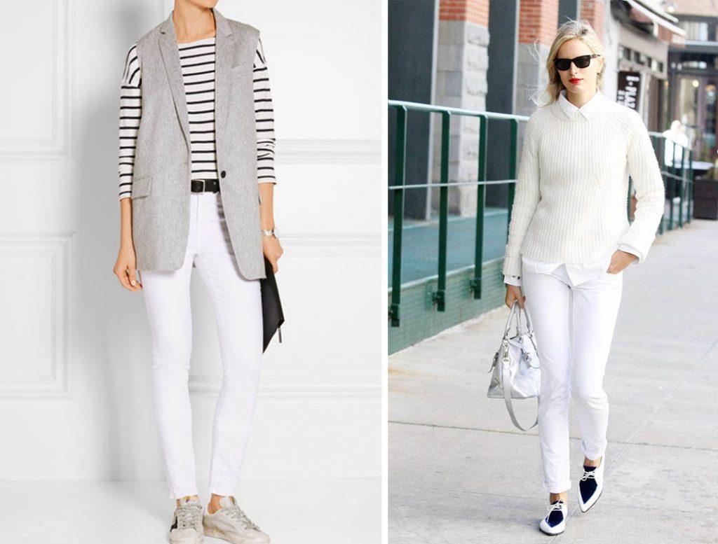 как носить белые джинсы 5