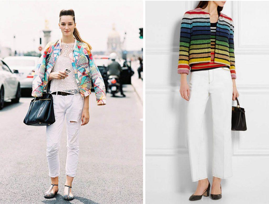 как носить белые джинсы 6