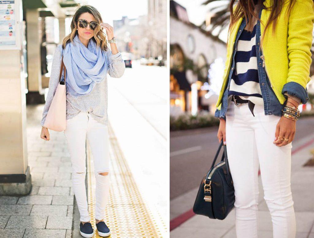 как носить белые джинсы 8