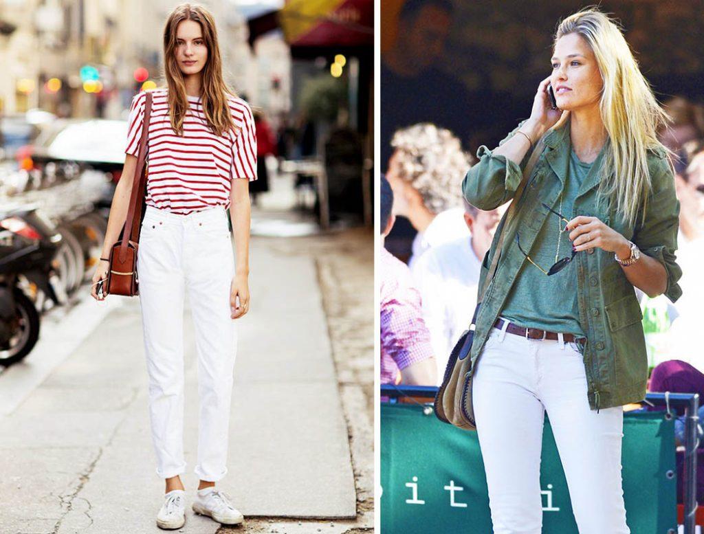 как носить белые джинсы 9